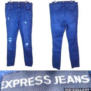 Express  distressed stretch skinny high rise jean